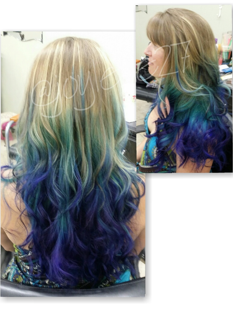 Blonde to blue fade hairstyle