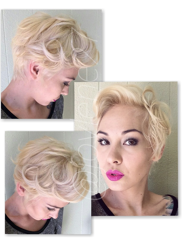 Short, curled hairstyle
